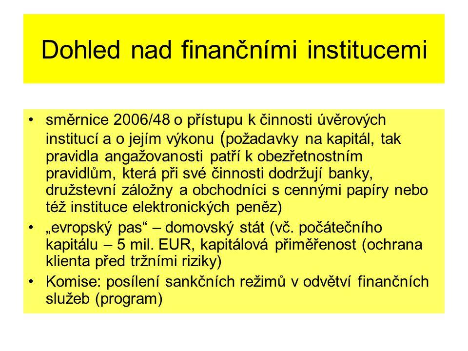 """Dohled nad finančními institucemi směrnice 2006/48 o přístupu k činnosti úvěrových institucí a o jejím výkonu ( požadavky na kapitál, tak pravidla angažovanosti patří k obezřetnostním pravidlům, která při své činnosti dodržují banky, družstevní záložny a obchodníci s cennými papíry nebo též instituce elektronických peněz) """"evropský pas – domovský stát (vč."""