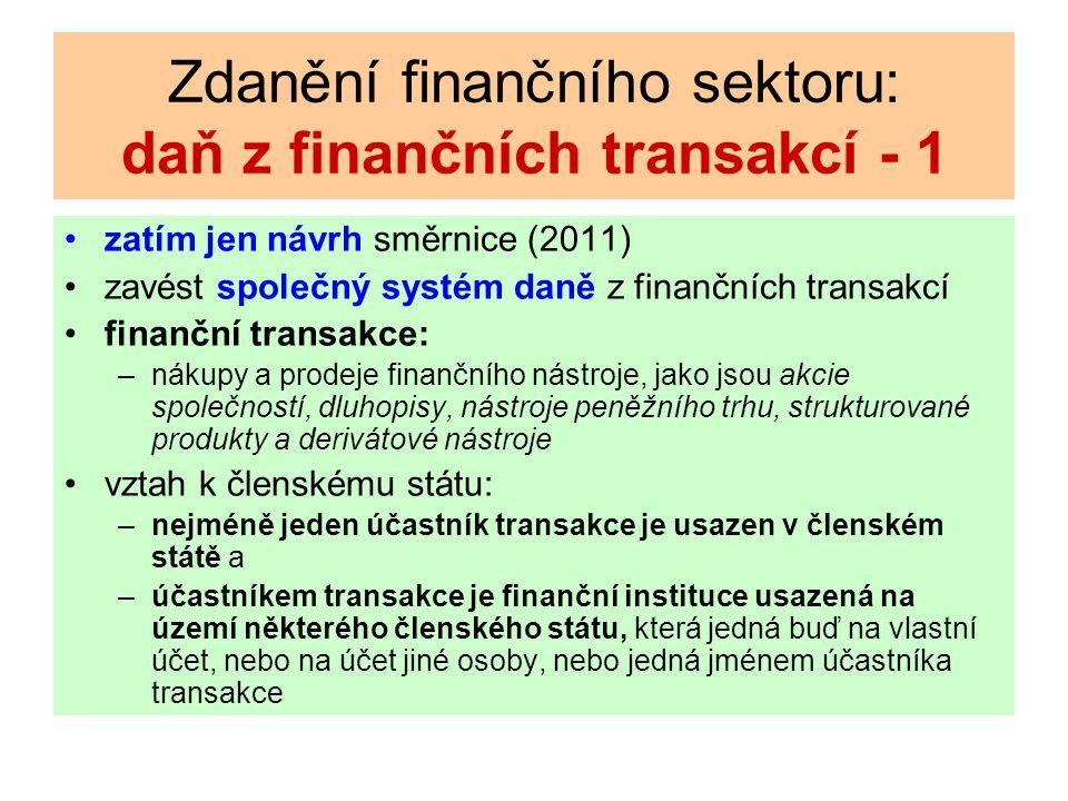 Zdanění finančního sektoru: daň z finančních transakcí - 1 zatím jen návrh směrnice (2011) zavést společný systém daně z finančních transakcí finanční transakce: –nákupy a prodeje finančního nástroje, jako jsou akcie společností, dluhopisy, nástroje peněžního trhu, strukturované produkty a derivátové nástroje vztah k členskému státu: –nejméně jeden účastník transakce je usazen v členském státě a –účastníkem transakce je finanční instituce usazená na území některého členského státu, která jedná buď na vlastní účet, nebo na účet jiné osoby, nebo jedná jménem účastníka transakce