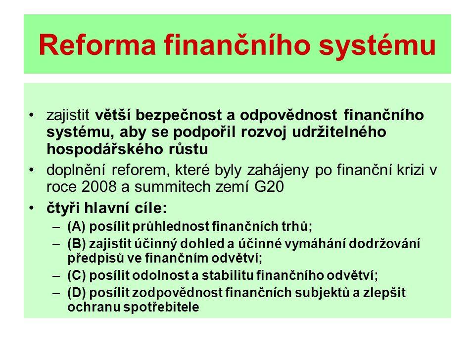 Reforma finančního systému zajistit větší bezpečnost a odpovědnost finančního systému, aby se podpořil rozvoj udržitelného hospodářského růstu doplnění reforem, které byly zahájeny po finanční krizi v roce 2008 a summitech zemí G20 čtyři hlavní cíle: –(A) posílit průhlednost finančních trhů; –(B) zajistit účinný dohled a účinné vymáhání dodržování předpisů ve finančním odvětví; –(C) posílit odolnost a stabilitu finančního odvětví; –(D) posílit zodpovědnost finančních subjektů a zlepšit ochranu spotřebitele