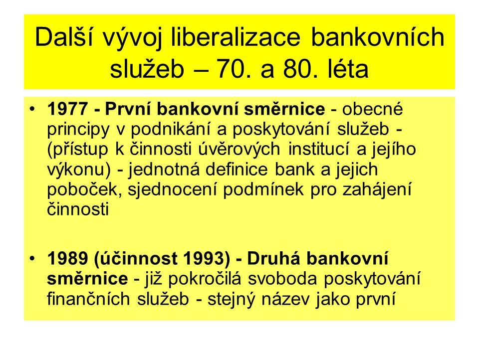 Další vývoj liberalizace bankovních služeb – 70. a 80.