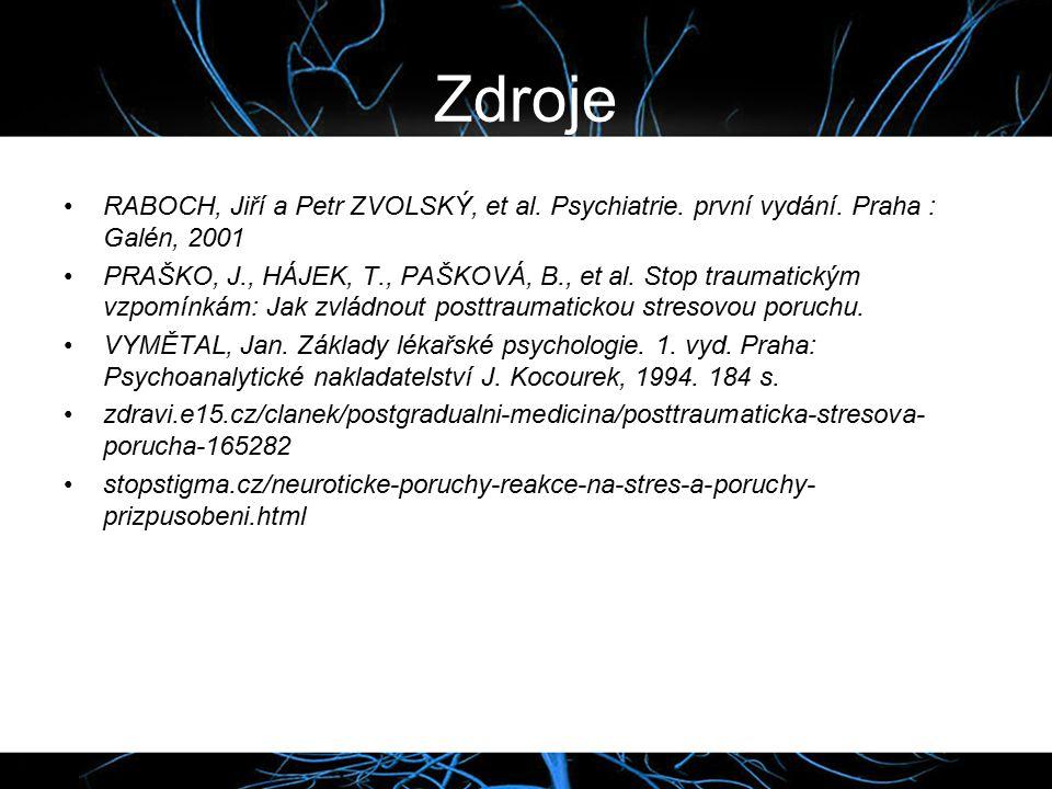 Zdroje RABOCH, Jiří a Petr ZVOLSKÝ, et al.Psychiatrie.