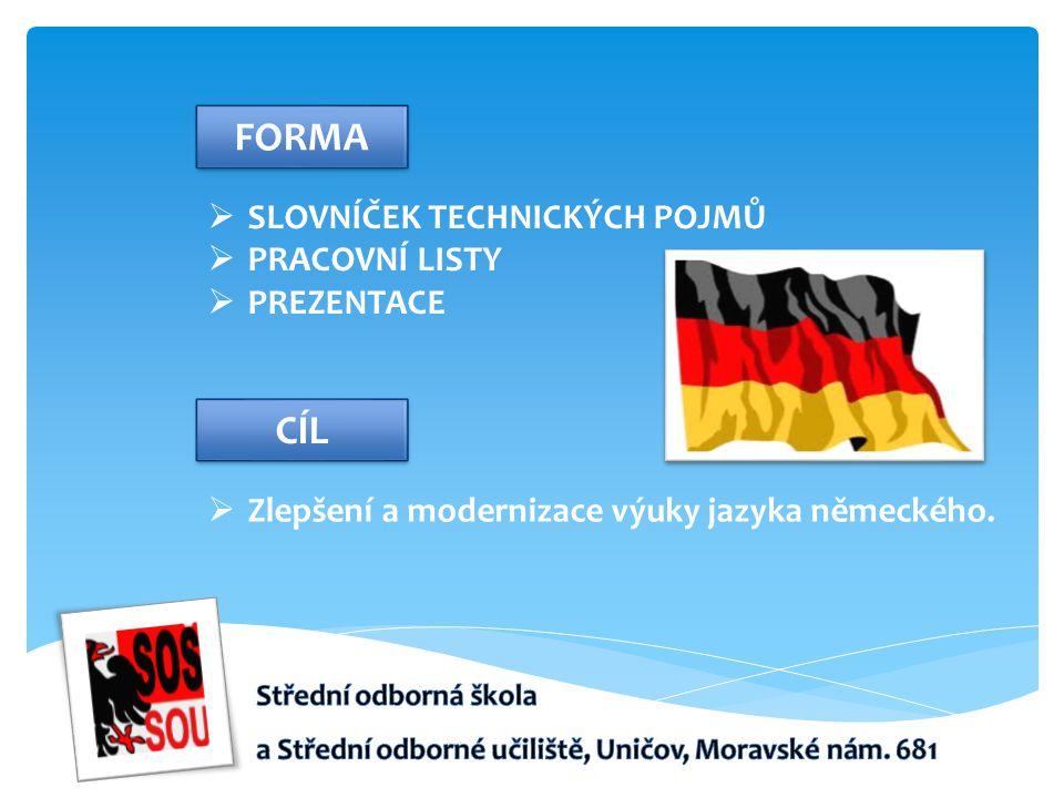  SLOVNÍČEK TECHNICKÝCH POJMŮ  PRACOVNÍ LISTY  PREZENTACE FORMA  Zlepšení a modernizace výuky jazyka německého.