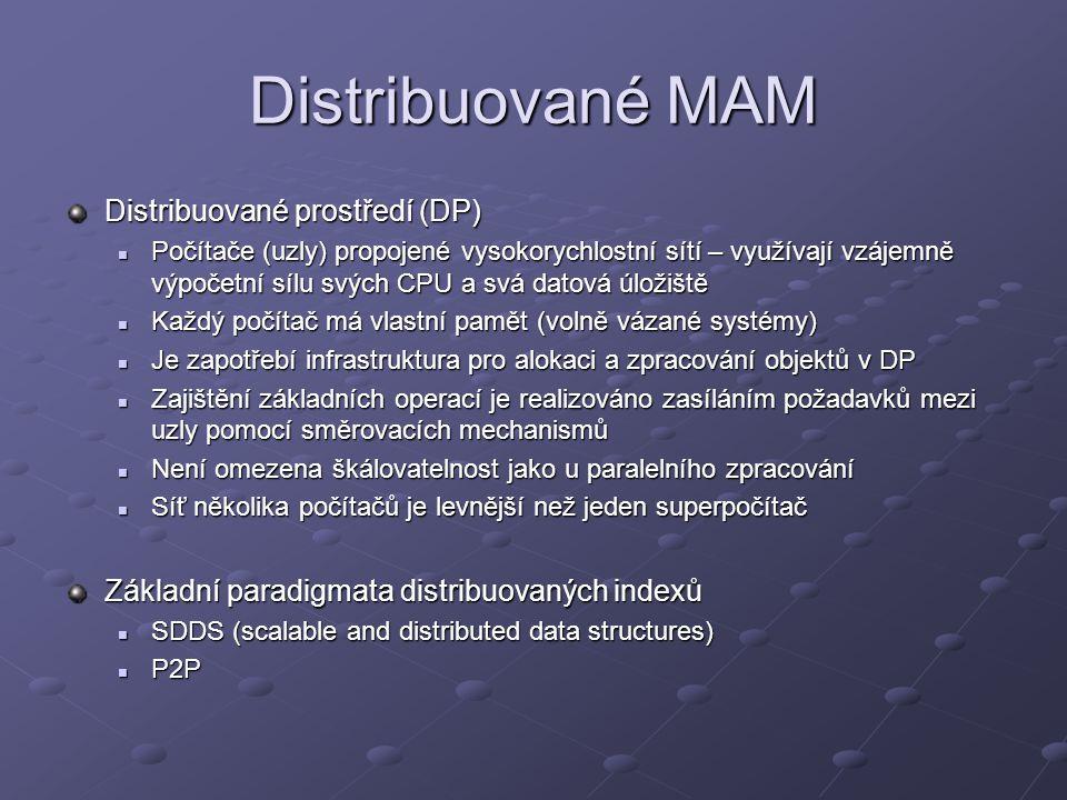 Distribuované MAM Distribuované prostředí (DP) Počítače (uzly) propojené vysokorychlostní sítí – využívají vzájemně výpočetní sílu svých CPU a svá datová úložiště Počítače (uzly) propojené vysokorychlostní sítí – využívají vzájemně výpočetní sílu svých CPU a svá datová úložiště Každý počítač má vlastní pamět (volně vázané systémy) Každý počítač má vlastní pamět (volně vázané systémy) Je zapotřebí infrastruktura pro alokaci a zpracování objektů v DP Je zapotřebí infrastruktura pro alokaci a zpracování objektů v DP Zajištění základních operací je realizováno zasíláním požadavků mezi uzly pomocí směrovacích mechanismů Zajištění základních operací je realizováno zasíláním požadavků mezi uzly pomocí směrovacích mechanismů Není omezena škálovatelnost jako u paralelního zpracování Není omezena škálovatelnost jako u paralelního zpracování Síť několika počítačů je levnější než jeden superpočítač Síť několika počítačů je levnější než jeden superpočítač Základní paradigmata distribuovaných indexů SDDS (scalable and distributed data structures) SDDS (scalable and distributed data structures) P2P P2P