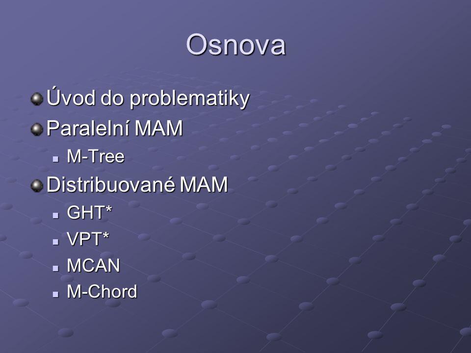 M-Chord Namísto referenčních objektů se z objektů vybírají pivoti Pomocí nich se mapují objekty do jednorozměrného prostoru iDistance doména představuje klíče v Chord protokolu – tzn.