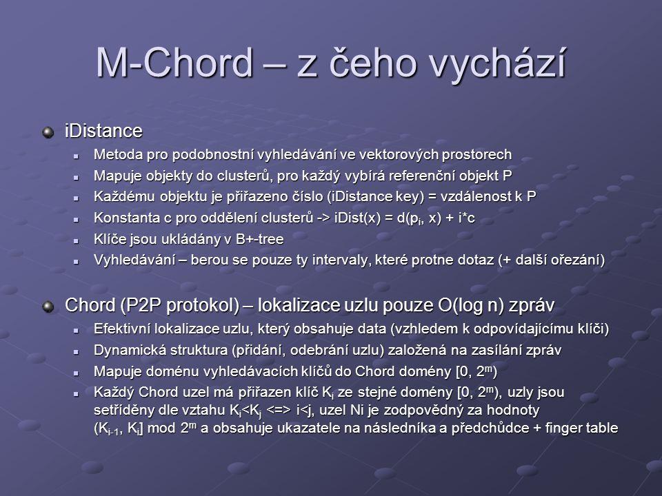 M-Chord – z čeho vychází iDistance Metoda pro podobnostní vyhledávání ve vektorových prostorech Metoda pro podobnostní vyhledávání ve vektorových prostorech Mapuje objekty do clusterů, pro každý vybírá referenční objekt P Mapuje objekty do clusterů, pro každý vybírá referenční objekt P Každému objektu je přiřazeno číslo (iDistance key) = vzdálenost k P Každému objektu je přiřazeno číslo (iDistance key) = vzdálenost k P Konstanta c pro oddělení clusterů -> iDist(x) = d(p i, x) + i*c Konstanta c pro oddělení clusterů -> iDist(x) = d(p i, x) + i*c Klíče jsou ukládány v B+-tree Klíče jsou ukládány v B+-tree Vyhledávání – berou se pouze ty intervaly, které protne dotaz (+ další ořezání) Vyhledávání – berou se pouze ty intervaly, které protne dotaz (+ další ořezání) Chord (P2P protokol) – lokalizace uzlu pouze O(log n) zpráv Efektivní lokalizace uzlu, který obsahuje data (vzhledem k odpovídajícímu klíči) Efektivní lokalizace uzlu, který obsahuje data (vzhledem k odpovídajícímu klíči) Dynamická struktura (přidání, odebrání uzlu) založená na zasílání zpráv Dynamická struktura (přidání, odebrání uzlu) založená na zasílání zpráv Mapuje doménu vyhledávacích klíčů do Chord domény [0, 2 m ) Mapuje doménu vyhledávacích klíčů do Chord domény [0, 2 m ) Každý Chord uzel má přiřazen klíč K i ze stejné domény [0, 2 m ), uzly jsou setříděny dle vztahu K i i i<j, uzel Ni je zodpovědný za hodnoty (K i-1, K i ] mod 2 m a obsahuje ukazatele na následníka a předchůdce + finger table