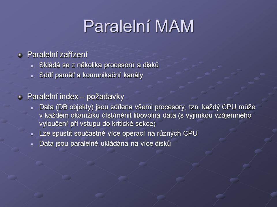 Paralelní MAM Paralelní zařízení Skládá se z několika procesorů a disků Skládá se z několika procesorů a disků Sdílí paměť a komunikační kanály Sdílí paměť a komunikační kanály Paralelní index – požadavky Data (DB objekty) jsou sdílena všemi procesory, tzn.
