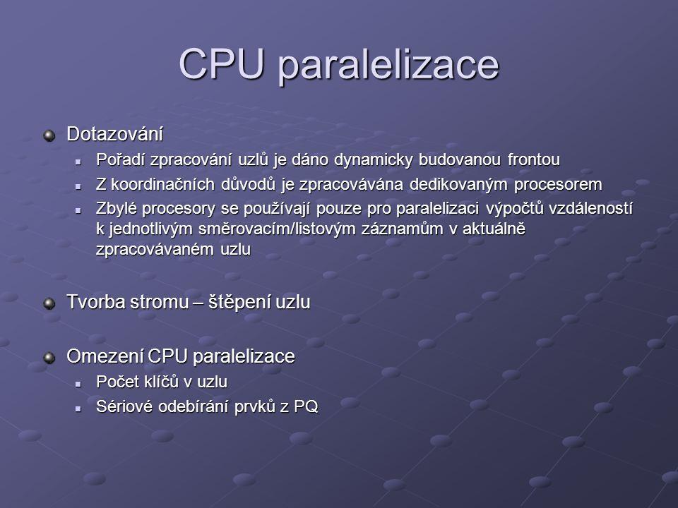 CPU paralelizace Dotazování Pořadí zpracování uzlů je dáno dynamicky budovanou frontou Pořadí zpracování uzlů je dáno dynamicky budovanou frontou Z koordinačních důvodů je zpracovávána dedikovaným procesorem Z koordinačních důvodů je zpracovávána dedikovaným procesorem Zbylé procesory se používají pouze pro paralelizaci výpočtů vzdáleností k jednotlivým směrovacím/listovým záznamům v aktuálně zpracovávaném uzlu Zbylé procesory se používají pouze pro paralelizaci výpočtů vzdáleností k jednotlivým směrovacím/listovým záznamům v aktuálně zpracovávaném uzlu Tvorba stromu – štěpení uzlu Omezení CPU paralelizace Počet klíčů v uzlu Počet klíčů v uzlu Sériové odebírání prvků z PQ Sériové odebírání prvků z PQ