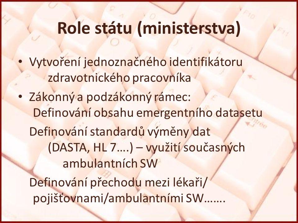 Role státu (ministerstva) Vytvoření jednoznačného identifikátoru zdravotnického pracovníka Zákonný a podzákonný rámec: Definování obsahu emergentního datasetu Definování standardů výměny dat (DASTA, HL 7….) – využití současných ambulantních SW Definování přechodu mezi lékaři/ pojišťovnami/ambulantními SW…….