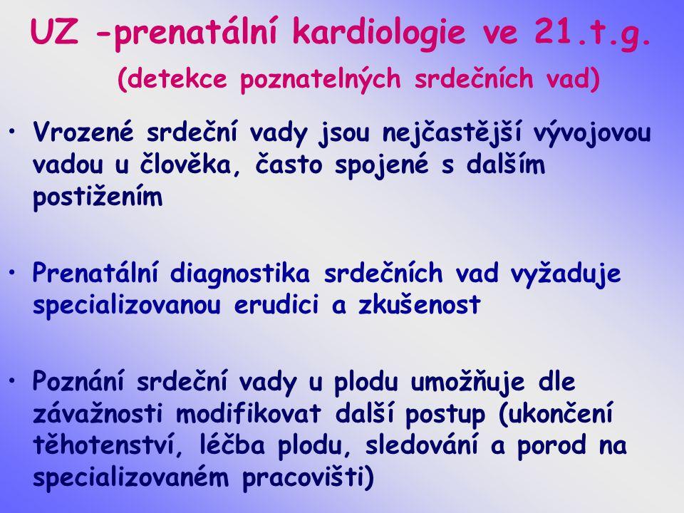 UZ -prenatální kardiologie ve 21.t.g. (detekce poznatelných srdečních vad) Vrozené srdeční vady jsou nejčastější vývojovou vadou u člověka, často spoj