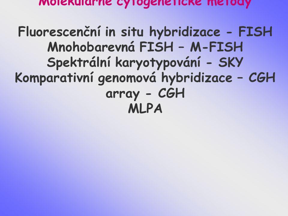 Molekulárně cytogenetické metody Fluorescenční in situ hybridizace - FISH Mnohobarevná FISH – M-FISH Spektrální karyotypování - SKY Komparativní genom