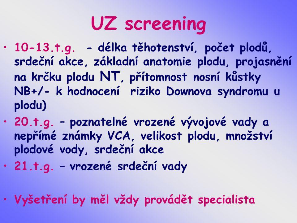 UZ screening 10-13.t.g. - délka těhotenství, počet plodů, srdeční akce, základní anatomie plodu, projasnění na krčku plodu NT, přítomnost nosní kůstky