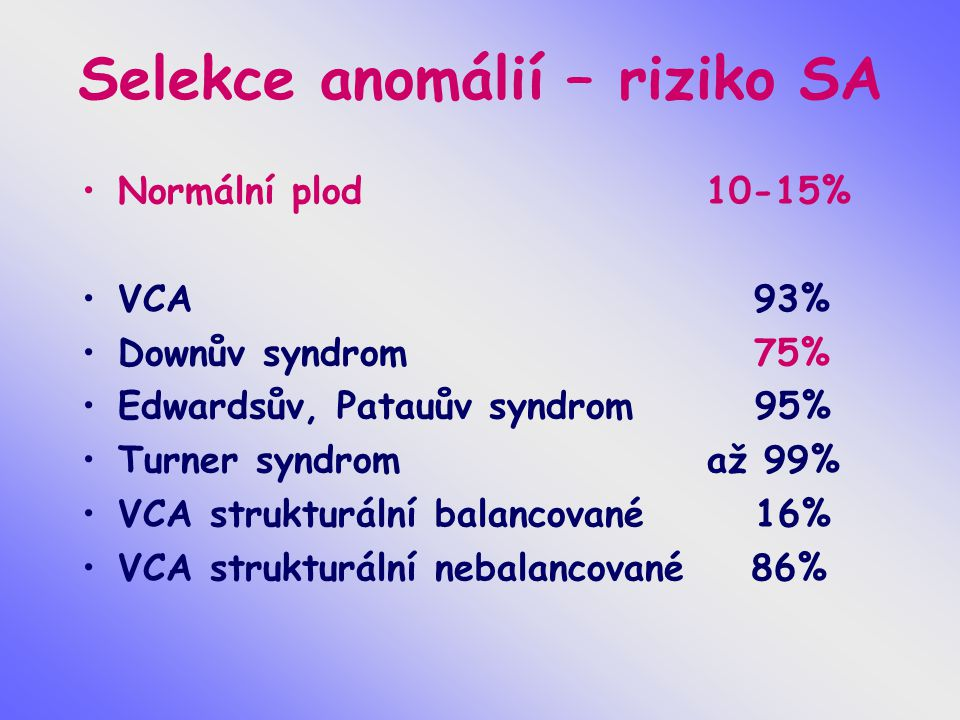 Mužská sterilita Oligoasthenoteratospermie – azoospermie Chromosomové aberace Mikrodelece Yq11,23,DAZ gen, AZF oblast a,b,c, CFTR gen