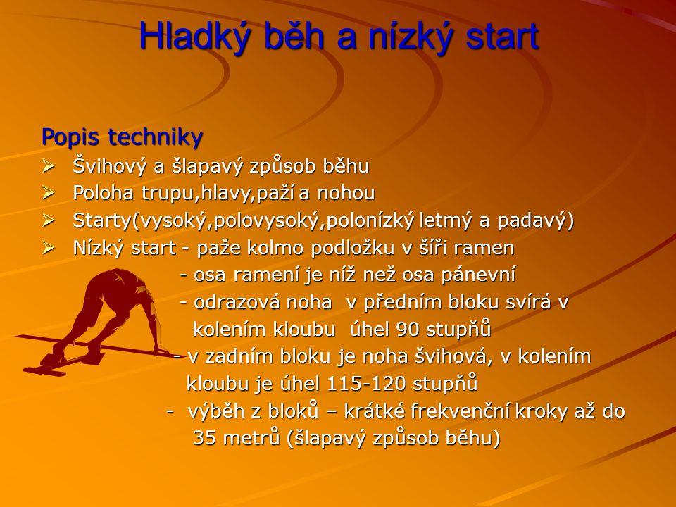Hladký běh a nízký start Popis techniky  Švihový a šlapavý způsob běhu  Poloha trupu,hlavy,paží a nohou  Starty(vysoký,polovysoký,polonízký letmý a