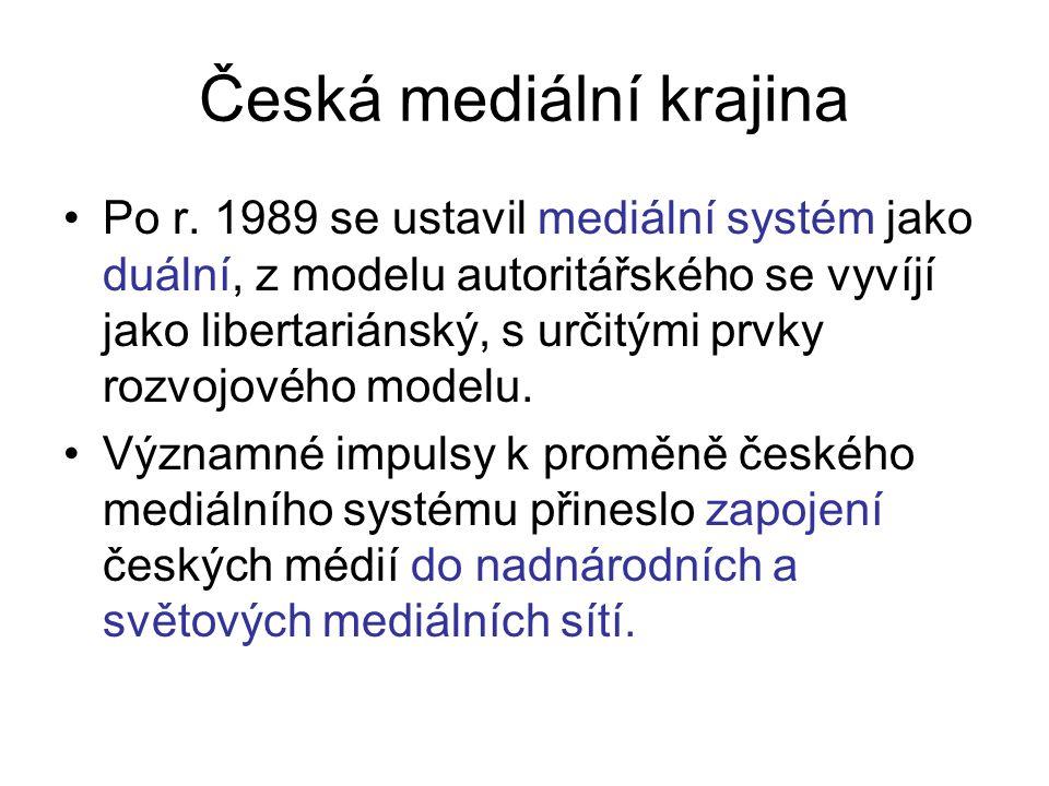 Česká mediální krajina Po r. 1989 se ustavil mediální systém jako duální, z modelu autoritářského se vyvíjí jako libertariánský, s určitými prvky rozv