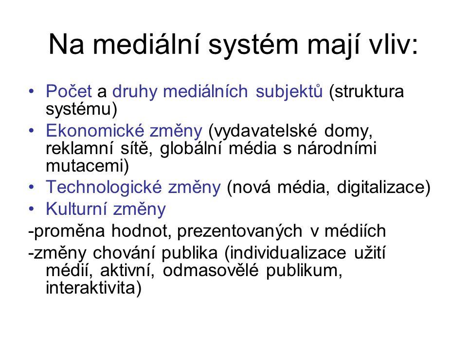 Na mediální systém mají vliv: Počet a druhy mediálních subjektů (struktura systému) Ekonomické změny (vydavatelské domy, reklamní sítě, globální média s národními mutacemi) Technologické změny (nová média, digitalizace) Kulturní změny -proměna hodnot, prezentovaných v médiích -změny chování publika (individualizace užití médií, aktivní, odmasovělé publikum, interaktivita)