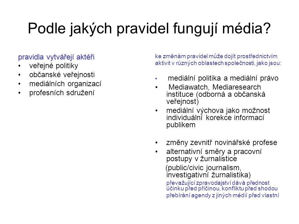 Podle jakých pravidel fungují média? pravidla vytvářejí aktéři veřejné politiky občanské veřejnosti mediálních organizací profesních sdružení ke změná