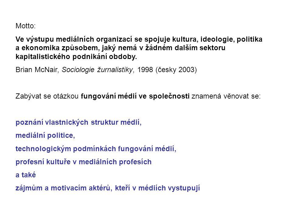 Hlavní témata vývojové tendence médií kdo nastavuje pravidla a proč regulace a samoregulace česká mediální krajina