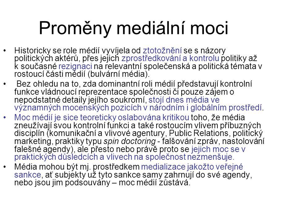 Kdo vytváří pravidla pro média nastavování pravidel pro fungování médií je spojeno s očekáváním společnosti, jak se budou média chovat pravidla vytvářejí aktéři veřejné politiky občanské veřejnosti mediálních organizací profesních sdružení