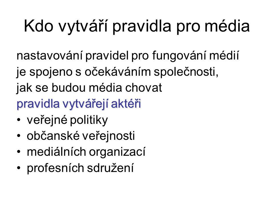 regulace a samoregulace Právo=ústava, zákony Tiskový zákon, vysílací zákon, zákony o médiích veřejné služby, z.