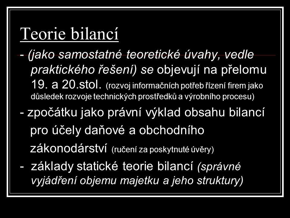 Teorie bilancí - (jako samostatné teoretické úvahy, vedle praktického řešení) se objevují na přelomu 19.