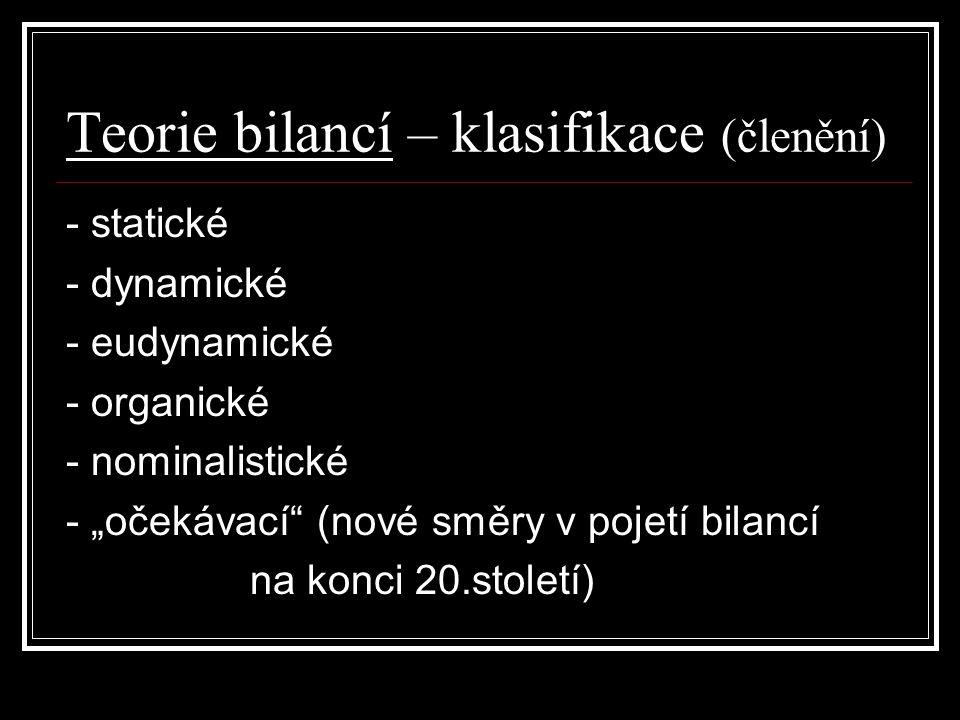 """Teorie bilancí – klasifikace (členění) - statické - dynamické - eudynamické - organické - nominalistické - """"očekávací (nové směry v pojetí bilancí na konci 20.století)"""