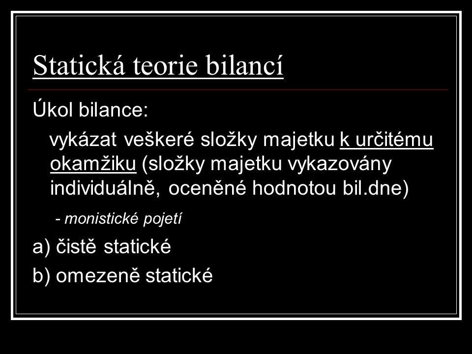 Statická teorie bilancí Úkol bilance: vykázat veškeré složky majetku k určitému okamžiku (složky majetku vykazovány individuálně, oceněné hodnotou bil.dne) - monistické pojetí a) čistě statické b) omezeně statické