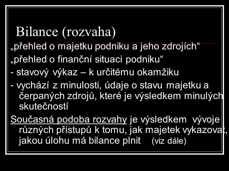 """Bilance a její pojetí Pojetí výkazu """"Bilance je rozlišováno podle výchozí teze o tom, jaký je účel bilance: a) pojetí monistické – jeden úkol (funkce) b) pojetí dualistické – dva úkoly (funkce) c) pojetí komplexní – více (mnoho) funkcí"""