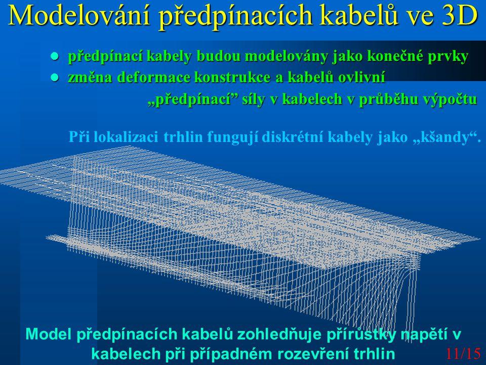 """11/15 Modelování předpínacích kabelů ve 3D předpínací kabely budou modelovány jako konečné prvky předpínací kabely budou modelovány jako konečné prvky změna deformace konstrukce a kabelů ovlivní změna deformace konstrukce a kabelů ovlivní """"předpínací síly v kabelech v průběhu výpočtu Při lokalizaci trhlin fungují diskrétní kabely jako """"kšandy ."""