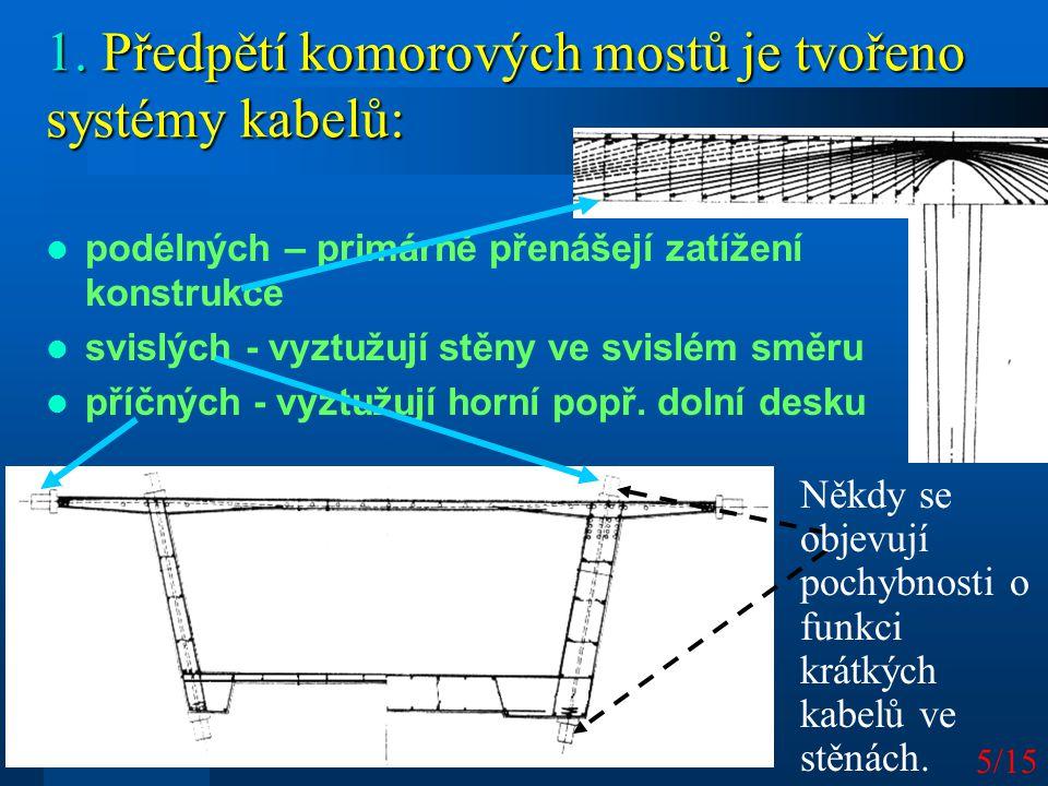 5/15 1. Předpětí komorových mostů je tvořeno systémy kabelů: podélných – primárně přenášejí zatížení konstrukce svislých - vyztužují stěny ve svislém