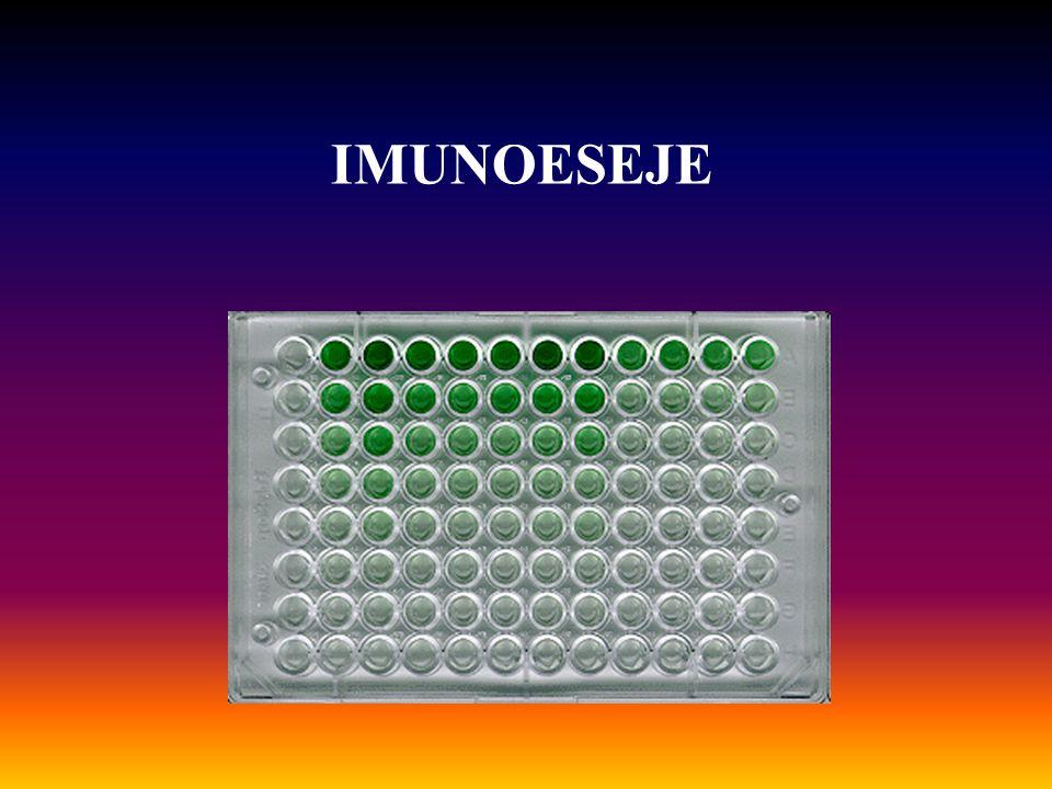 http://virus.usal.es/web/demo_microali/enterotoxina/set.html 1.Potažení jamek antigenem 2.Přidání vzorku séra 3.Přídání enzymem značené protilátky(anti-human IgG) 4.Přidání substrátu 5.Odečtení barevné reakce 1 2 34