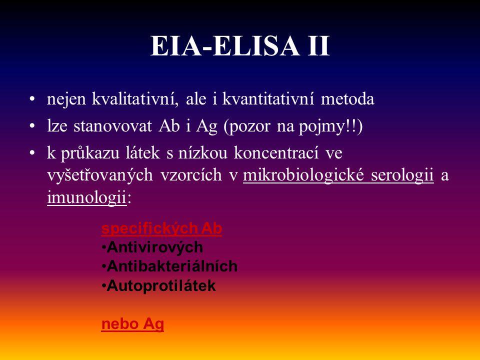 EIA-ELISA II nejen kvalitativní, ale i kvantitativní metoda lze stanovovat Ab i Ag (pozor na pojmy!!) k průkazu látek s nízkou koncentrací ve vyšetřov