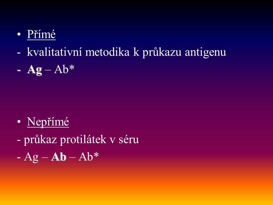 Přímé -kvalitativní metodika k průkazu antigenu -Ag -Ag – Ab* Nepřímé - průkaz protilátek v séru Ab - Ag – Ab – Ab*