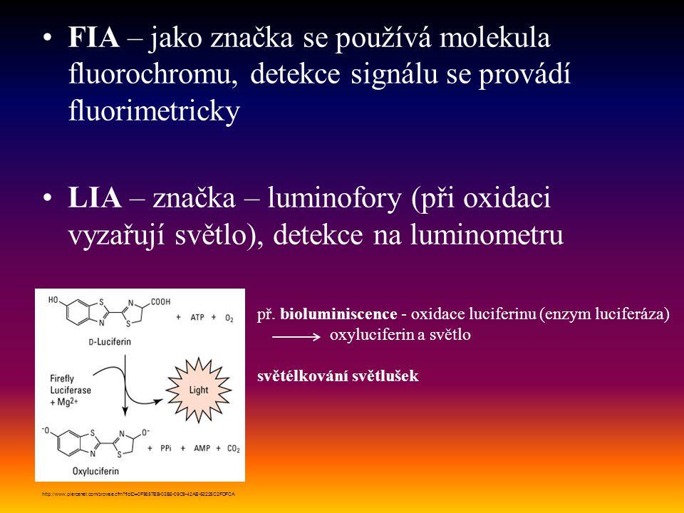 FIA – jako značka se používá molekula fluorochromu, detekce signálu se provádí fluorimetricky LIA – značka – luminofory (při oxidaci vyzařují světlo),