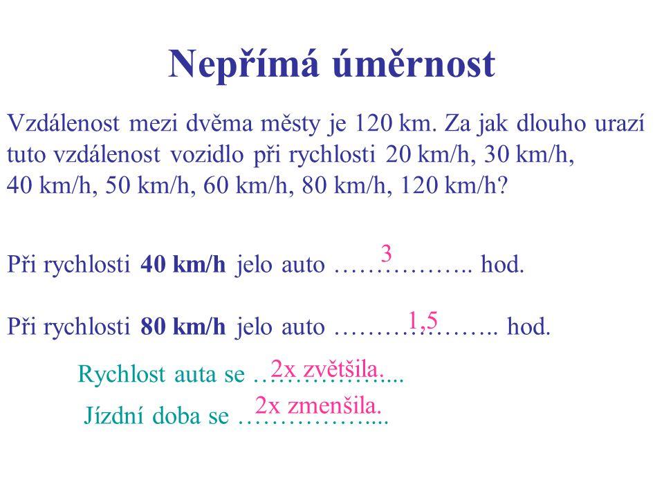 Nepřímá úměrnost Při rychlosti 40 km/h jelo auto ……………..