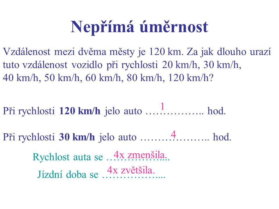Nepřímá úměrnost Při rychlosti 120 km/h jelo auto ……………..