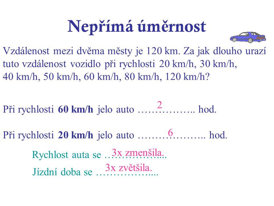 Nep ř ímá úm ě rnost Při rychlosti 60 km/h jelo auto ……………..