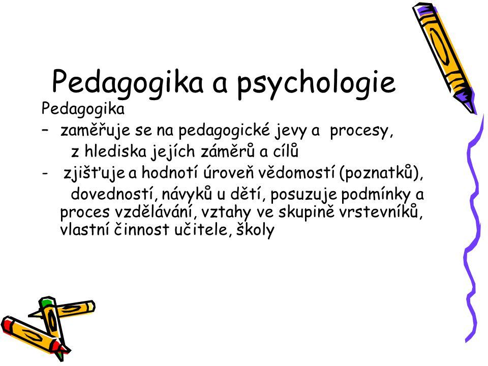 Pedagogika a psychologie Pedagogika –zaměřuje se na pedagogické jevy a procesy, z hlediska jejích záměrů a cílů - zjišťuje a hodnotí úroveň vědomostí (poznatků), dovedností, návyků u dětí, posuzuje podmínky a proces vzdělávání, vztahy ve skupině vrstevníků, vlastní činnost učitele, školy