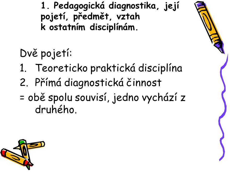 1. Pedagogická diagnostika, její pojetí, předmět, vztah k ostatním disciplínám. Dvě pojetí: 1.Teoreticko praktická disciplína 2.Přímá diagnostická čin