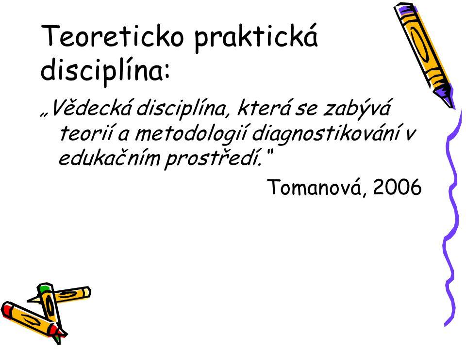 """Teoreticko praktická disciplína: """"Vědecká disciplína, která se zabývá teorií a metodologií diagnostikování v edukačním prostředí. Tomanová, 2006"""