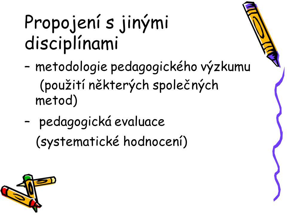 Propojení s jinými disciplínami –metodologie pedagogického výzkumu (použití některých společných metod) – pedagogická evaluace (systematické hodnocení
