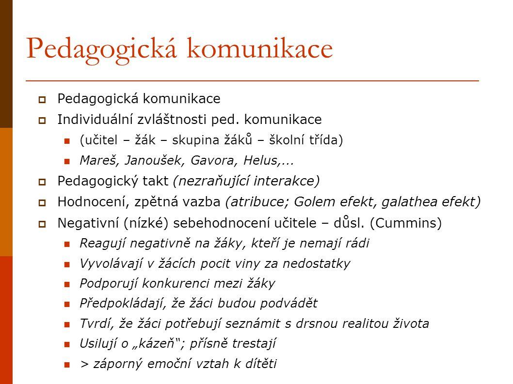 Pedagogická komunikace  Pedagogická komunikace  Individuální zvláštnosti ped. komunikace (učitel – žák – skupina žáků – školní třída) Mareš, Janouše