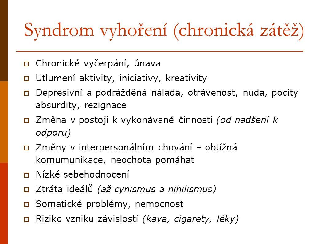 Syndrom vyhoření (chronická zátěž)  Chronické vyčerpání, únava  Utlumení aktivity, iniciativy, kreativity  Depresivní a podrážděná nálada, otráveno