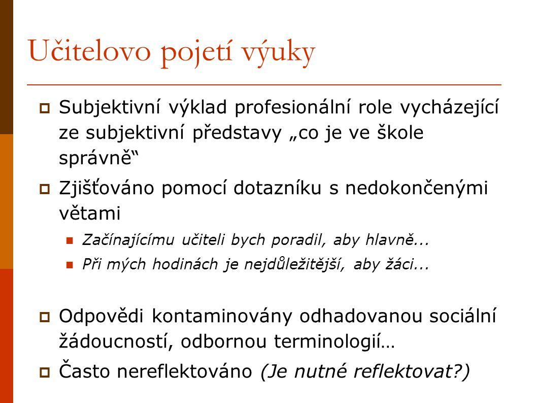 Učitelovo interpersonální chování Vychází z Learyho; např. Wubbels, Levy, 1993