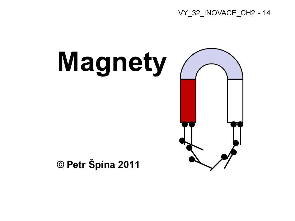 Magnety trvalé (permanentní) -vyrobeny z magnetických kovů -Fe, Co, Ni a jejich oxidy (ferit) -přírodní magnetovec -magnetují stále, postupně slábnou -sílu mag.