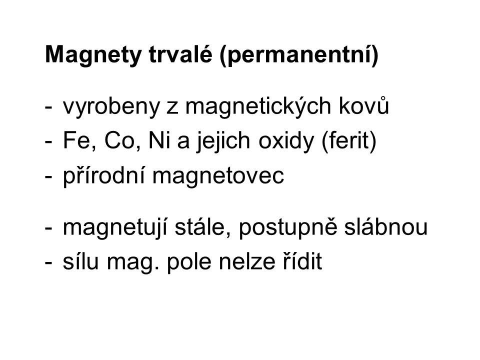Magnety trvalé (permanentní) -vyrobeny z magnetických kovů -Fe, Co, Ni a jejich oxidy (ferit) -přírodní magnetovec -magnetují stále, postupně slábnou
