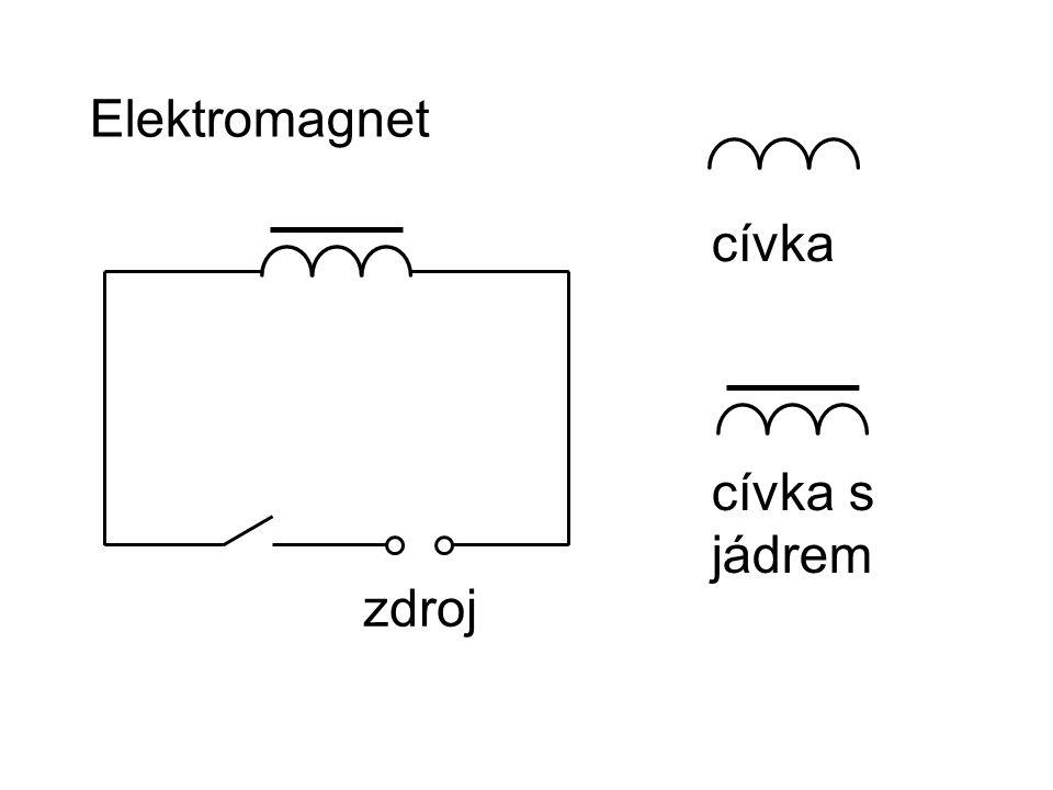 Síla elektromagnetu závisí na: -počtu závitů cívky -připojeném napětí -jádru Magnetická síla vzniká / zaniká po připojení / odpojení zdroje napětí.