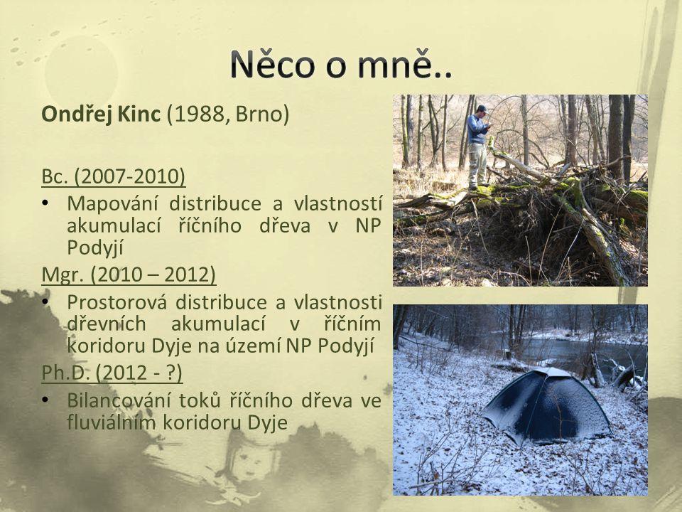 Ondřej Kinc (1988, Brno) Bc. (2007-2010) Mapování distribuce a vlastností akumulací říčního dřeva v NP Podyjí Mgr. (2010 – 2012) Prostorová distribuce