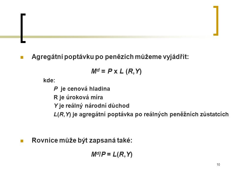 10 Agregátní poptávku po penězích můžeme vyjádřit: M d = P x L (R,Y) kde: P je cenová hladina R je úroková míra Y je reálný národní důchod L(R,Y) je a