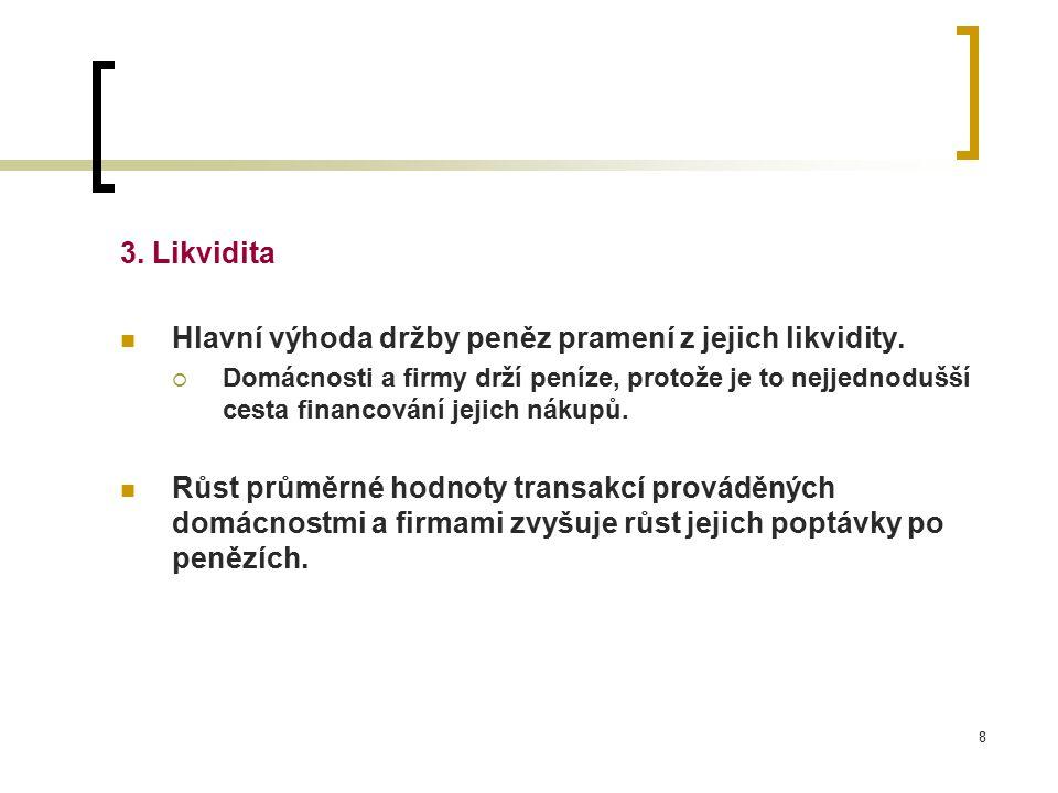 8 3. Likvidita Hlavní výhoda držby peněz pramení z jejich likvidity.  Domácnosti a firmy drží peníze, protože je to nejjednodušší cesta financování j