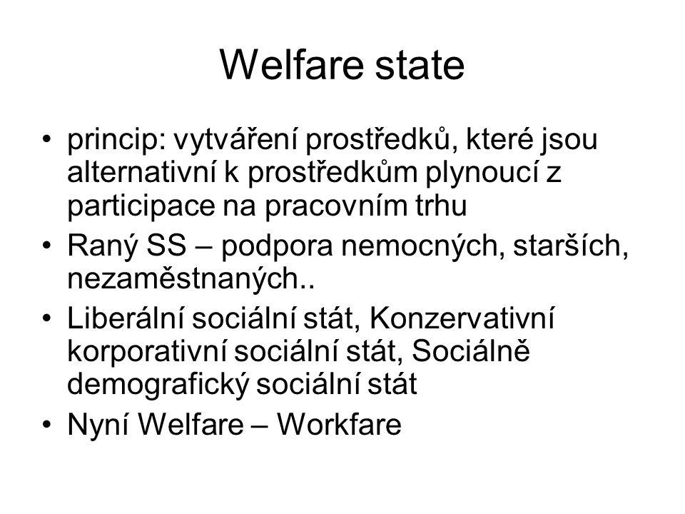 Welfare state princip: vytváření prostředků, které jsou alternativní k prostředkům plynoucí z participace na pracovním trhu Raný SS – podpora nemocných, starších, nezaměstnaných..